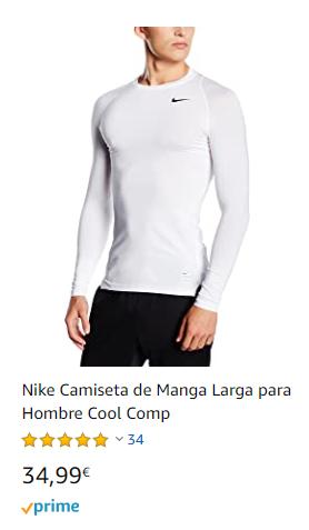 camiseta interior termica nike